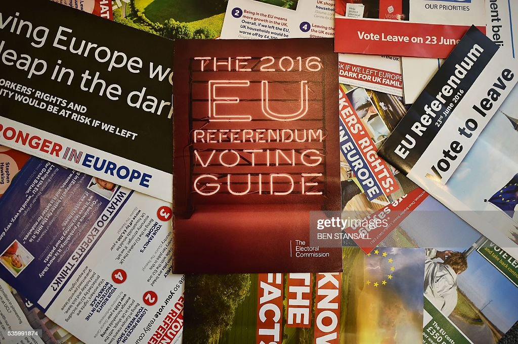Leaflets delivered recently to British households, relating to the forthcoming European Union (EU) referendum, are arranged for a photograph in London on May 31, 2016. Money is at the heart of many a battle, and the June 23, 2016 referendum on whether Britain should stay in the European Union or quit is no exception. Voters are being hit with a blizzard of statistics from the 'Remain' and 'Leave' camps, often produced selectively to boost their side of the argument. / AFP / BEN