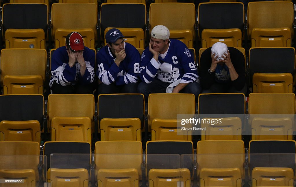 BOSTON, MA - MAY 13 - Leafs fans lament the loss in the stands in the first overtime period as the Toronto Maple Leafs play the Boston Bruins in game 7 in their first round NHL Stanley Cup playoffs series at TD Garden in Boston, May 13, 2013.