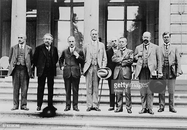 League of Nations Council in Geneva where the Geneva Protocol will be signed From left to right Vittorio Scialoga Aristide Briand Edvard Benes Austen...