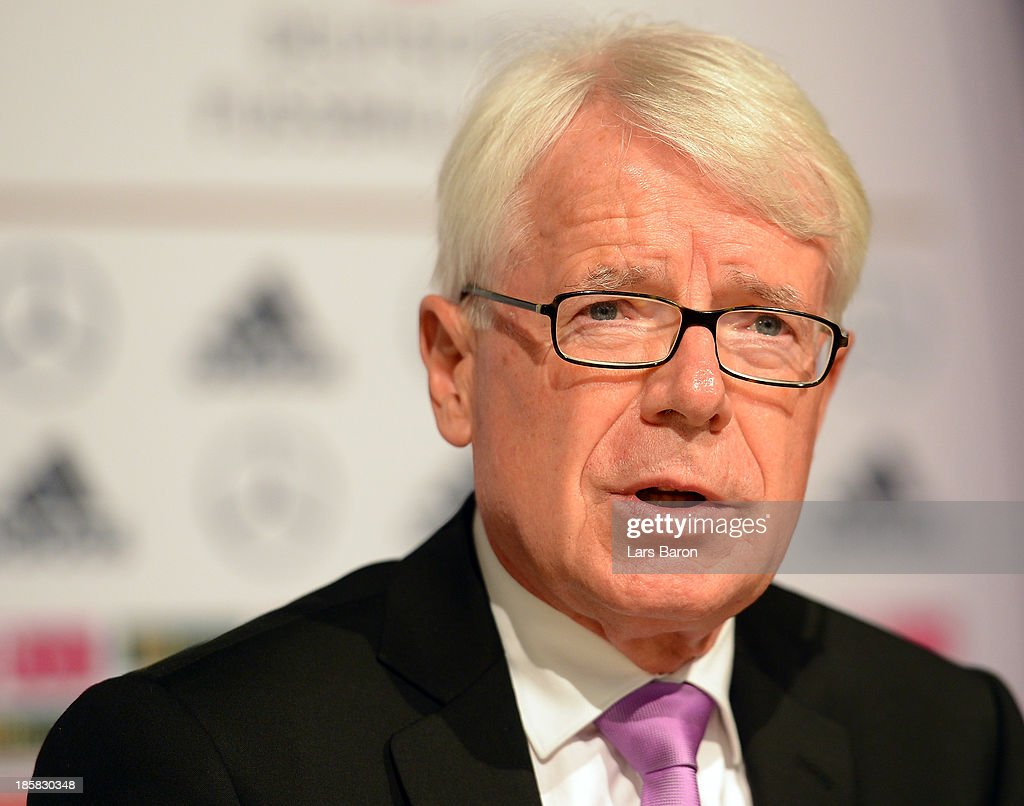 DFL league president Rainer Rauball is seen during a press conference after the DFB Bundestag at NCC Nuremberg on October 25, 2013 in Nuremberg, Germany.