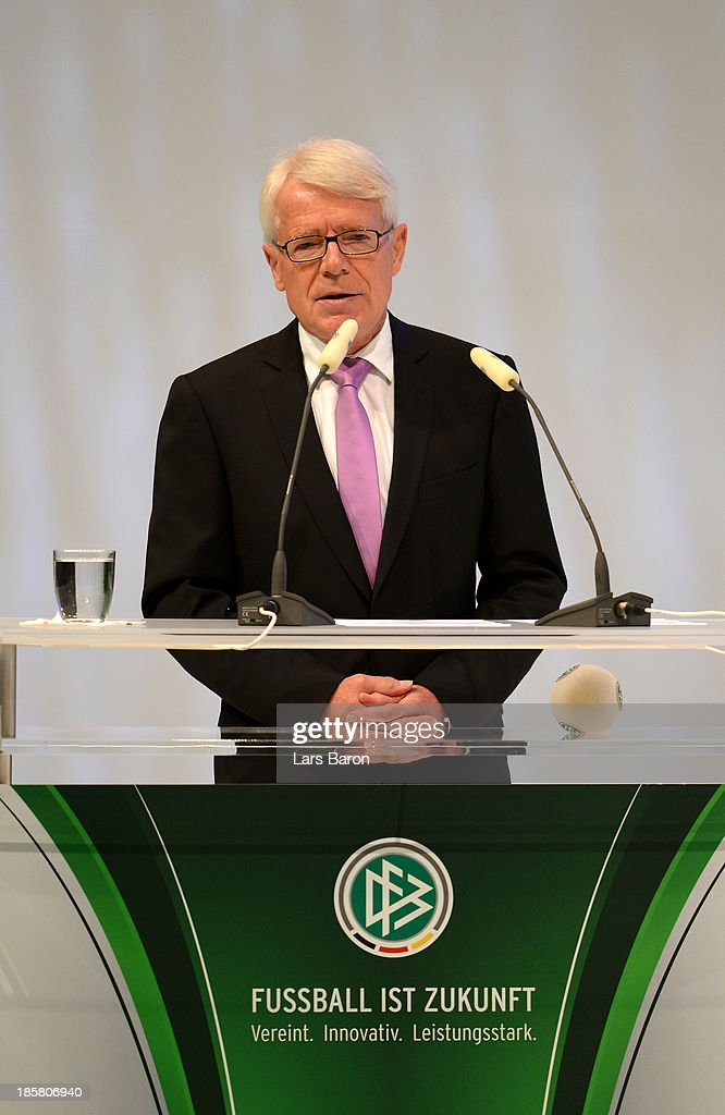 DFL league president <a gi-track='captionPersonalityLinkClicked' href=/galleries/search?phrase=Reinhard+Rauball&family=editorial&specificpeople=652253 ng-click='$event.stopPropagation()'>Reinhard Rauball</a> addresses the DFB Bundestag Day 2 at NCC Nuremberg on October 25, 2013 in Nuremberg, Germany.