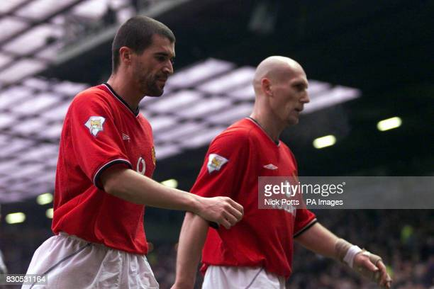 Manchester United captain Roy Keane and Jaap Stam walk off pitch after their cup defeat by West Ham United in the FA Cup Fourth Round match at Old...