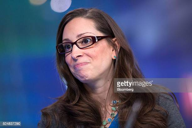 Leah Busque chairman and founder of TaskRabbit Inc pauses during a Bloomberg Television interview in London UK on Wednesday April 27 2016 TaskRabbit...