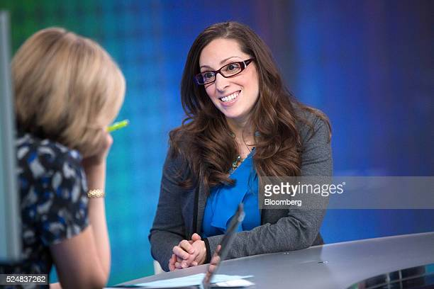 Leah Busque chairman and founder of TaskRabbit Inc right reacts during a Bloomberg Television interview in London UK on Wednesday April 27 2016...