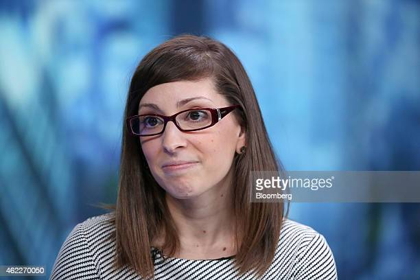 Leah Busque chief executive officer of TaskRabbit Inc pauses during a Bloomberg Television interview in London UK on Monday Jan 26 2015 The euro rose...