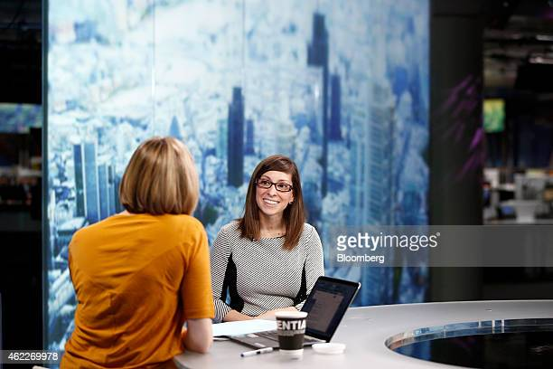 Leah Busque chief executive officer of TaskRabbit Inc right reacts during a Bloomberg Television interview in London UK on Monday Jan 26 2015 The...