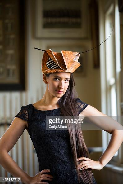 Leah De Neise wears one of Chantelle's designs at the Ford Millinery launch on October 1 2014 in Melbourne Australia