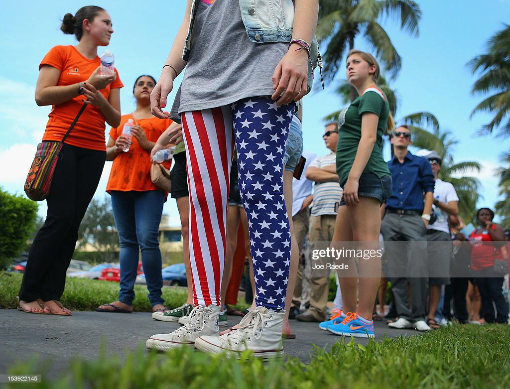 Leah Friend wears American flag leggings as she waits in line to get into the BankUnited Center at the University of Miami where US President Barack...