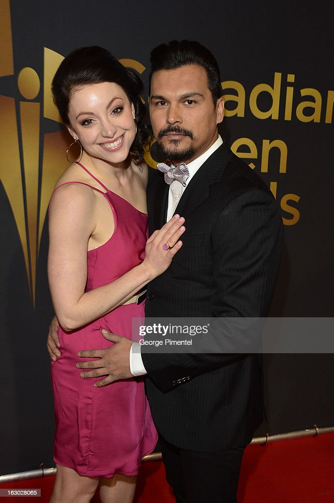 Leah Gibson and Adam Beach arrive at the Canadian Screen Awards at the Sony Centre for the Performing Arts on March 3, 2013 in Toronto, Canada.
