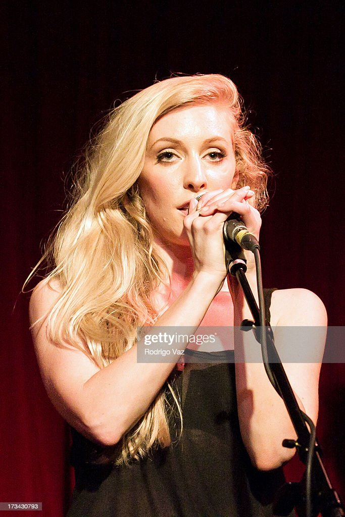 <a gi-track='captionPersonalityLinkClicked' href=/galleries/search?phrase=Leah+Jenner&family=editorial&specificpeople=9897291 ng-click='$event.stopPropagation()'>Leah Jenner</a> of Brandon & Leah performs at the Hotel Cafe on July 13, 2013 in Hollywood, California.