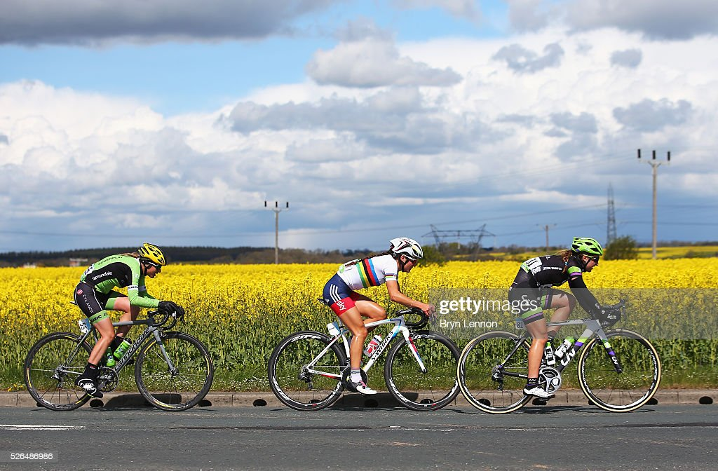 Leah Kirchmann (R) of Team Liv-Plantur and Canada competes with <a gi-track='captionPersonalityLinkClicked' href=/galleries/search?phrase=Lizzie+Armitstead&family=editorial&specificpeople=5588567 ng-click='$event.stopPropagation()'>Lizzie Armitstead</a> (C) of the Great Britain National Team and Doris Schweizer (L) of Cyclance Pro Cycling and Switzerland during the women's race in the second stage of the 2016 Tour de Yorkshire between Otley and Doncaster on April 30, 2016 in Doncaster, England.