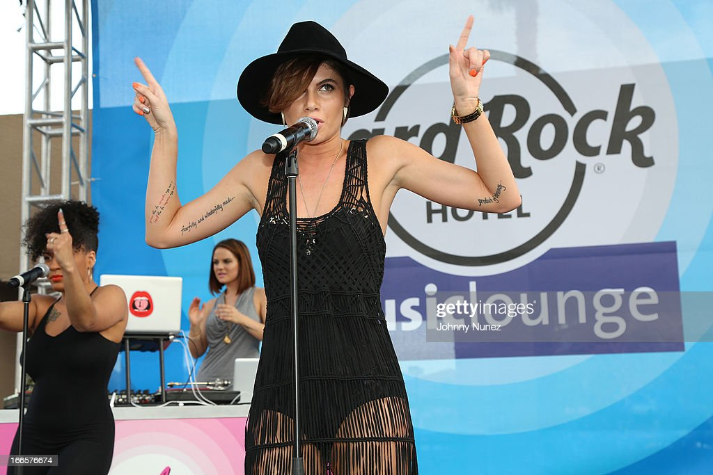 Leah LaBelle performs at the Hard Rock Music Lounge Women Who Rock Hosted by Kelly Rowland - Day 2 at Hard Rock Hotel Palm Springs on April 13, 2013 in Palm Springs, California.