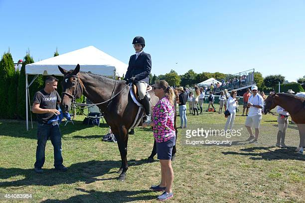Leah Lane and Jenn Bowery attend the Hampton Classic Horse Show grounds on August 24 2014 in Bridgehampton New York