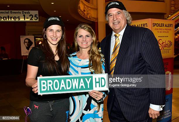 Leah Lane Bonnie Comley and Stewart F Lane attend the BroadwayHD First Anniversary Party at AMC Empire Theatre on November 10 2016 in New York City