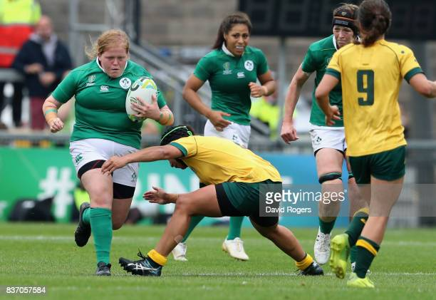 Leah Lyons of Ireland is tackled during the Women's Rugby World Cup 2017 match between Ireland and Australia at the Kingspan Stadium on August 22...