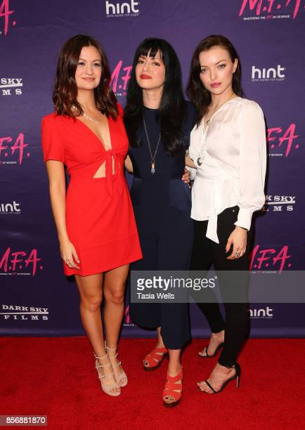 Leah McKendrick Natalie Leite and Francesca Eastwood at the premiere of Dark Sky Films' 'MFA' at The London West Hollywood on October 2 2017 in West...