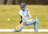 Leah Poulton of the Breakers plays a cut shot during the WT20 match between New South Wales Breakers and ACT Meteors at Blacktown International...