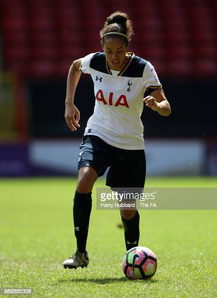 Leah Rawle of Tottenham in action during the FA Women's Premier League Playoff Final between Tottenham Hotspur Ladies and Blackburn Rovers Ladies at...