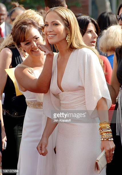 Leah Remini and Jennifer Lopez during 2006 NCLR ALMA Awards Arrivals at Shrine Auditorium in Los Angeles California United States