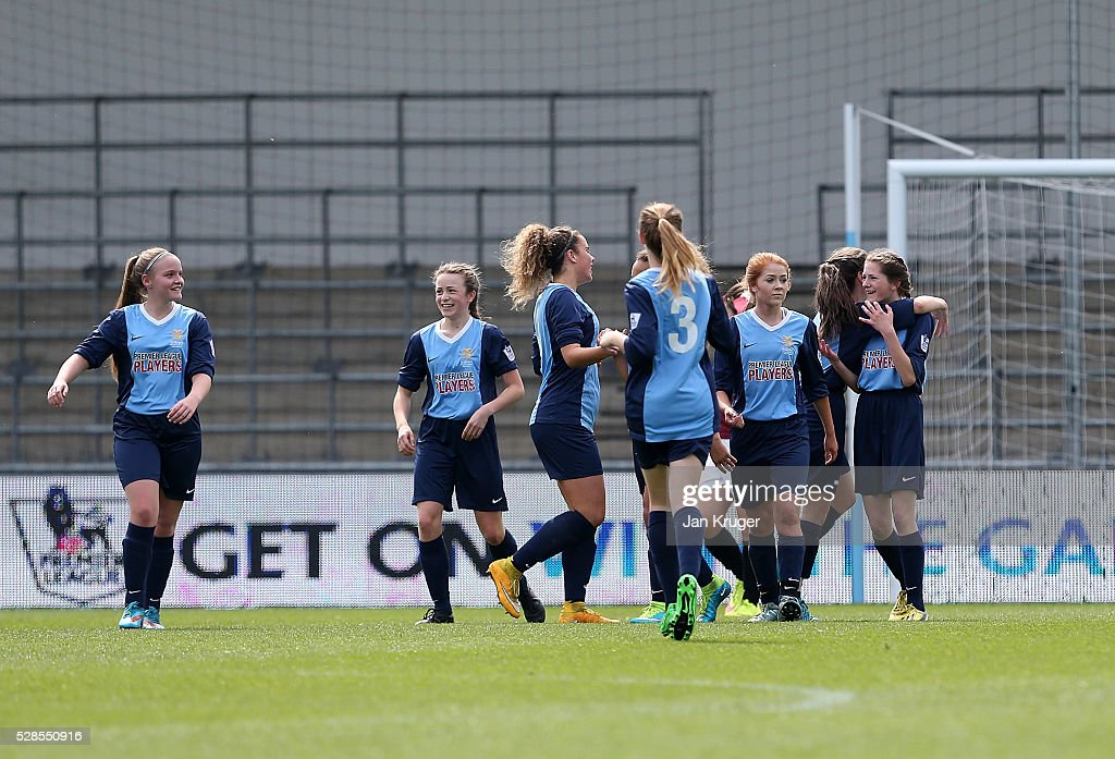 Leah Rhodes of St Bede's School celebrates her goal with team mates during the Premier League U16 Schools Cup For Girls final between St Bede's School and Kings' School at the Etihad Campus on May 06, 2016 in Manchester, England.