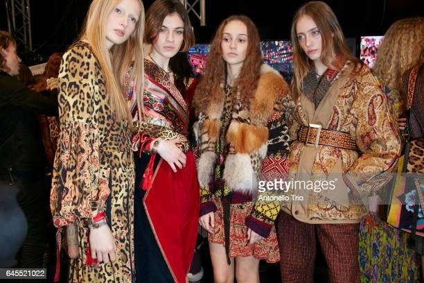 Leah Rodl Milena Litvinovskaya Michelle Gutknecht and Lia Pavlova seen backstage ahead of the Etro show during Milan Fashion Week Fall/Winter 2017/18...