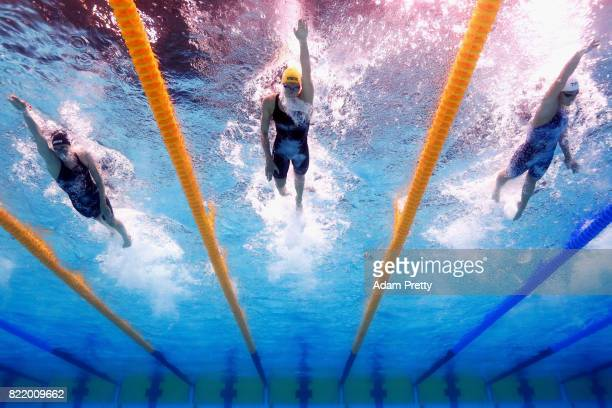 Leah Smith of the United States Emma Mckeon of Australia and Femke Heemskerk of the Netherlands competes during the Women's 200m Freestyle Heats on...