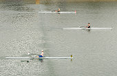 Leah Stanley of New Zealand rows to victory in the womens single sculls final during day four of the Australian Youth Olympic Festival at the Sydney...