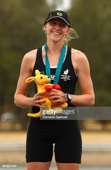 Leah Stanley of New Zealand smiles on the podium after winning gold in the womens single sculls final during day four of the Australian Youth Olympic...