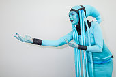 Leah Thomas dresses as Diva Plavalaguna from 'The Fifth Element' at ComicCon International 2016 Day 1 on July 21 2016 in San Diego California