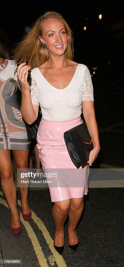 Leah Totton leaving Mahiki night club on August 29, 2013 in London, England.