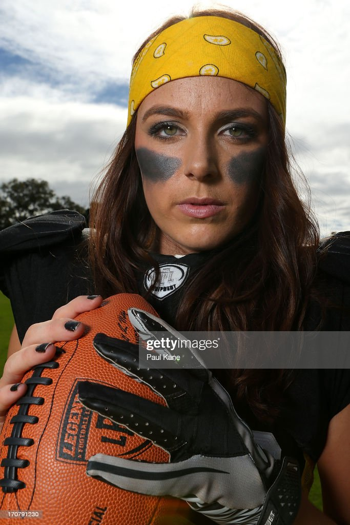 Leah Turnbull of the Western Australian Angels poses during a Legends Football League (LFL) media day at nib Stadium on June 18, 2013 in Perth, Australia.