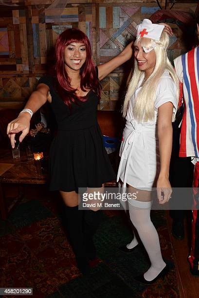 Leah Weller and guest attend 'Death Of A Geisha' hosted by Fran Cutler and Cafe KaiZen with Grey Goose on October 31 2014 in London England