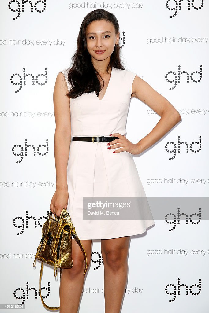 Leah Weller attends ghd's exhibition of iconic beauty must-haves to celebrate the launch of ghd aura, a ground-breaking drying and styling tool on June 25, 2014 in London, England.