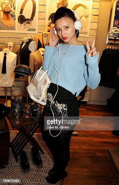 Leah Weller attends the Panasonic Technics 'Shop To The Beat' Party hosted by George Lamb at French Connection Oxford Circus on March 13 2013 in...