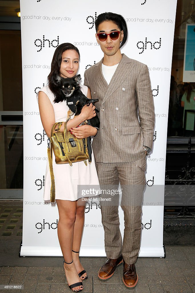 <a gi-track='captionPersonalityLinkClicked' href=/galleries/search?phrase=Leah+Weller&family=editorial&specificpeople=4377670 ng-click='$event.stopPropagation()'>Leah Weller</a>, boyfriend Tomo Kurata and dog Luna attend ghd's exhibition of iconic beauty must-haves to celebrate the launch of ghd aura, a ground-breaking drying and styling tool on June 25, 2014 in London, England.
