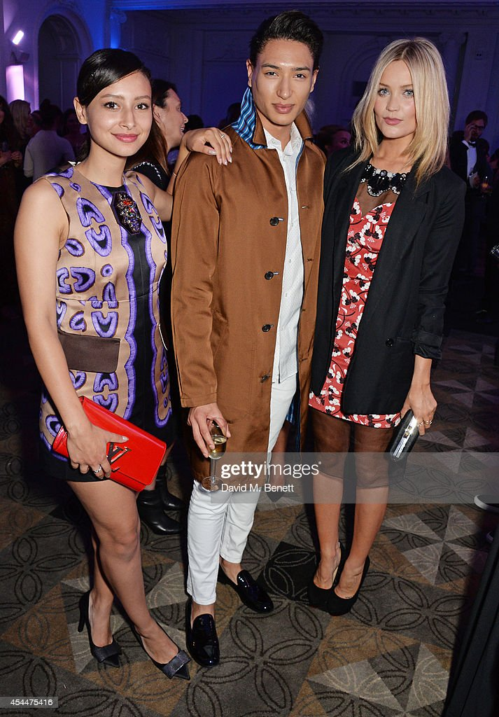 Leah Weller, Natt Weller and Laura Whitmore arrive at the Scottish fashion invasion of London at the 9th annual Scottish Fashion Awards at 8 Northumberland Avenue on September 1, 2014 in London, England.