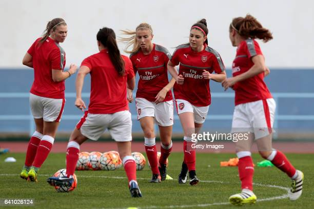 Leah Williamson and Carla Humphrey of Arsenal warming up during the Women's Friendly Match between VfL Wolfsburg Women's and Arsenal FC Women on...