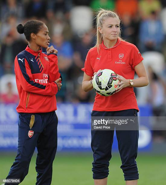 Leah Williamson and Rachel Yankey of Arsenal Ladies before the match between Arsenal Ladies and Chelsea Ladies at Meadow Park on August 23 2015 in...