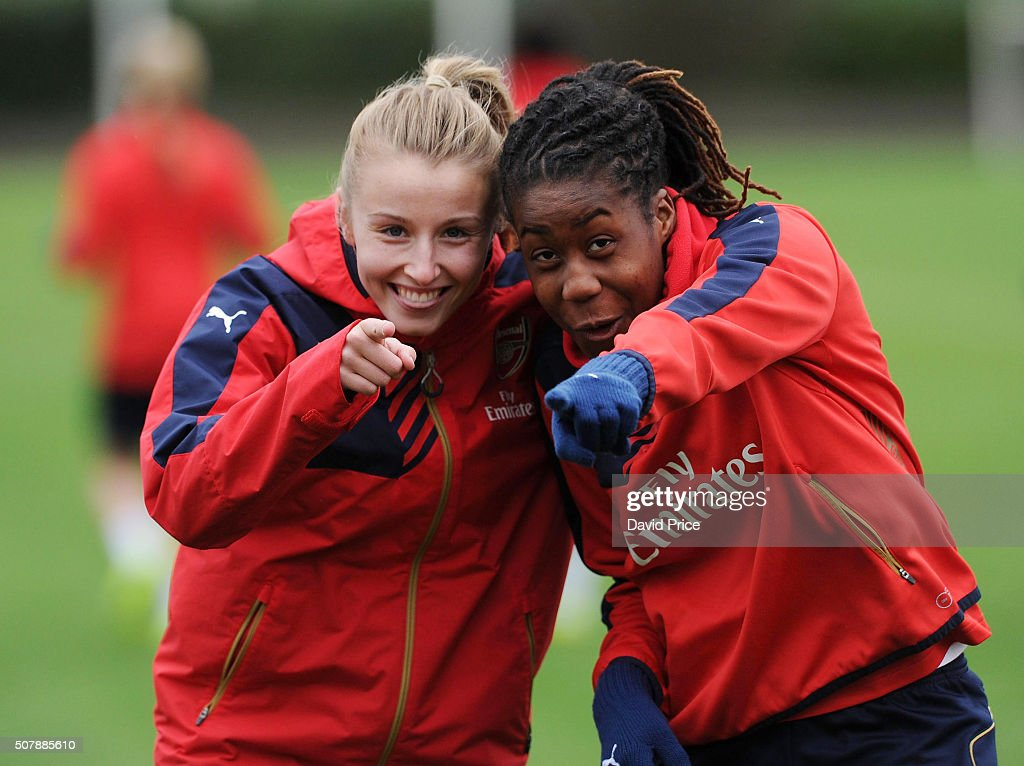Leah Williamson and Vyan Sampson of Arsenal Ladies during the Arsenal Ladies training session at London Colney on January 29, 2016 in St Albans, England.