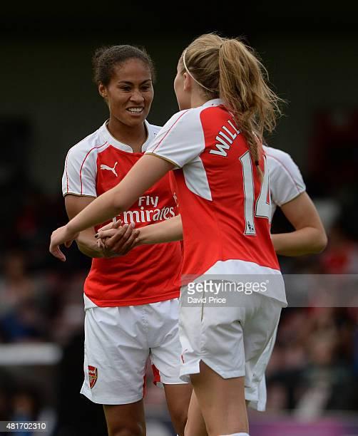 Leah Williamson celebrates scoring Arsenal Ladies 1st goal with Rachel Yankey during the match between Arsenal Ladies and Watford Ladies at Meadow...