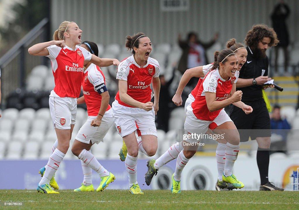Leah Williamson, Natalia Pablos Sanchon and Fara Williams of Arsenal Ladies celebrate after winning the penalty shoot out after the match between Arsenal Ladies and Notts County Ladies at Meadow Park on April 3, 2016 in Borehamwood, England.