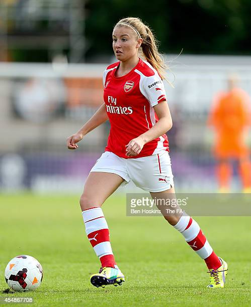 Leah Williamson of Arsenal in action during the FA WSL Continental Cup Semi Final match between Arsenal Ladies and Notts County Ladies at Meadow Park...