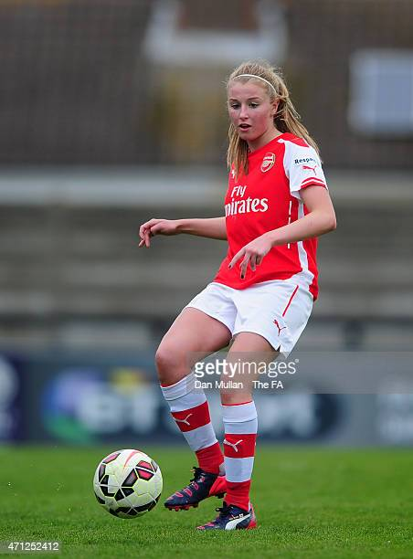 Leah Williamson of Arsenal in action during the WSL match between Arsenal Ladies and Sunderland Ladies at Meadow Park on April 26 2015 in Borehamwood...