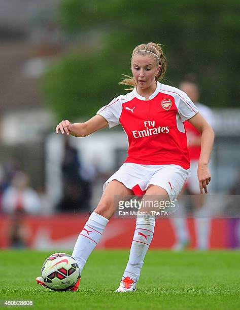 Leah Williamson of Arsenal in action during the WSL match between Arsenal Ladies and Liverpool Ladies at Meadow Park on July 12 2015 in Borehamwood...