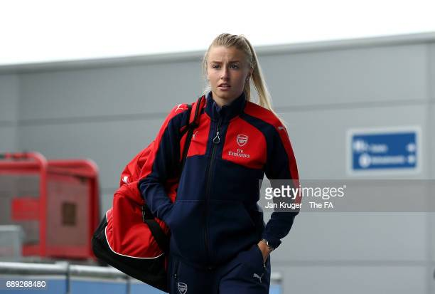 Leah Williamson of Arsenal Ladies arrives ahead of the WSL 1 match between Manchester City Ladies and Arsenal Ladies at Etihad Campus on May 28 2017...