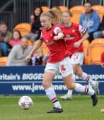 Leah Williamson of Arsenal Ladies during the match between Arsenal Ladies and Birmingham City Ladies in the UEFA Womens Champions League at The Hive...