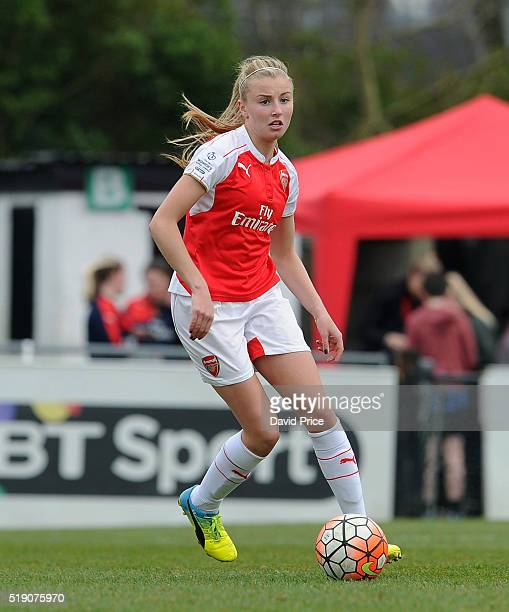 Leah Williamson of Arsenal Ladies during the match between Arsenal Ladies and Notts County Ladies at Meadow Park on April 3 2016 in Borehamwood...