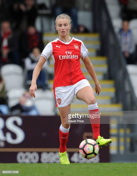 Leah Williamson of Arsenal Ladies during the match between Arsenal Ladies and Tottenham Hotspur Ladies on March 19 2017 in Borehamwood England