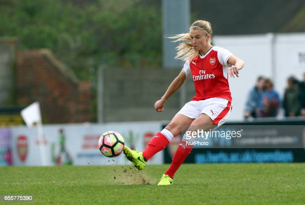 Leah Williamson of Arsenal Ladies during The SSE FA Women's Cup Fifth Round match between Arsenal Ladies against Tottenham Hotspur Ladies at Meadow...