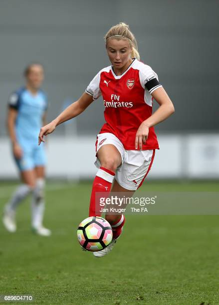 Leah Williamson of Arsenal Ladies in action during the WSL 1 match between Manchester City Ladies and Arsenal Ladies at Etihad Campus on May 28 2017...
